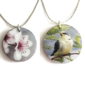 Jewelry - Two Sided Cherry Blossom & Bird Pendant